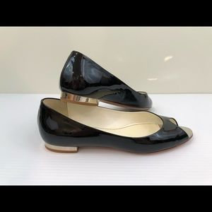 CHANEL Black Patent Leather Peep Toe Flats